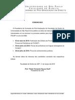 Comunicado Calendario Parcial Processo Seletivo Alunos Regulares 2020
