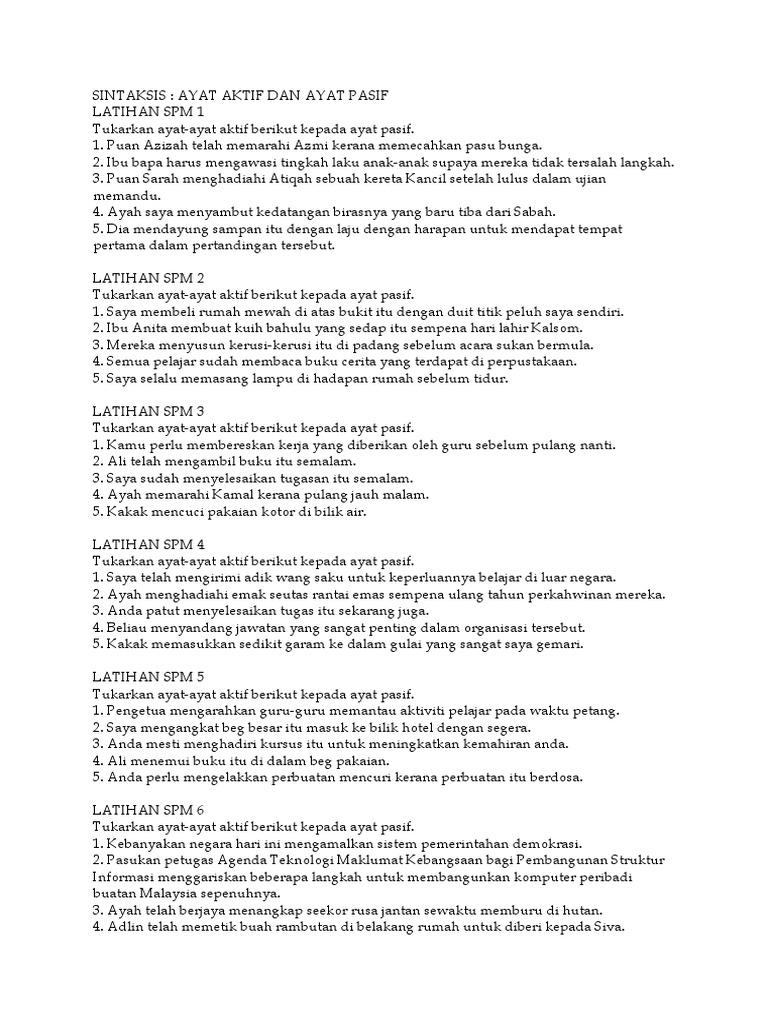 Latihan Ayat Aktif Kepada Ayat Pasif Docx