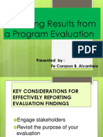 Reporting  Results from  a Program Evaluation