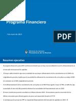 PROGRAMA FINANCIERO 2019 Ministerio de Hacienda - 7ene2019