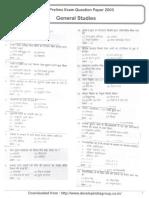 JPSC Prelims Exam Question Paper 2003