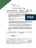 Affidavit of Loss Drivers License