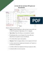 Como se da el uso de las normas APA para un documento.docx