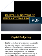 Capital Budgeting for International Products