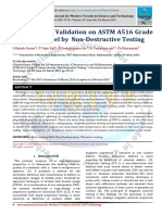 Experimental Validation on ASTM A516 Grade 70 Carbon Steel by Non-Destructive Testing