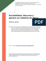Ruffino, Javier (2005). Sociabilidad, Discurso y Genero en Catalina de Siena