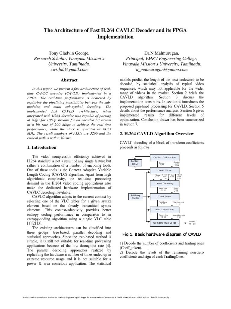 Cavlc1 H264 Mpeg 4 Avc Digital Social Media H 264 Decoder Block Diagram
