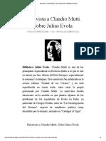 Entrevista a Claudio Mutti. Sobre Julius Evola   Biblioteca Evoliana