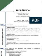 Hidráulica_2019.1_Aula 02_Revisão de Mecânica Dos Fluidos