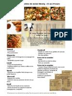 Menu de La Cuisine de Meme Moniq 23 Au 29 Mars