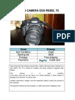 CANON CAMERA EOS REBEL T5.docx