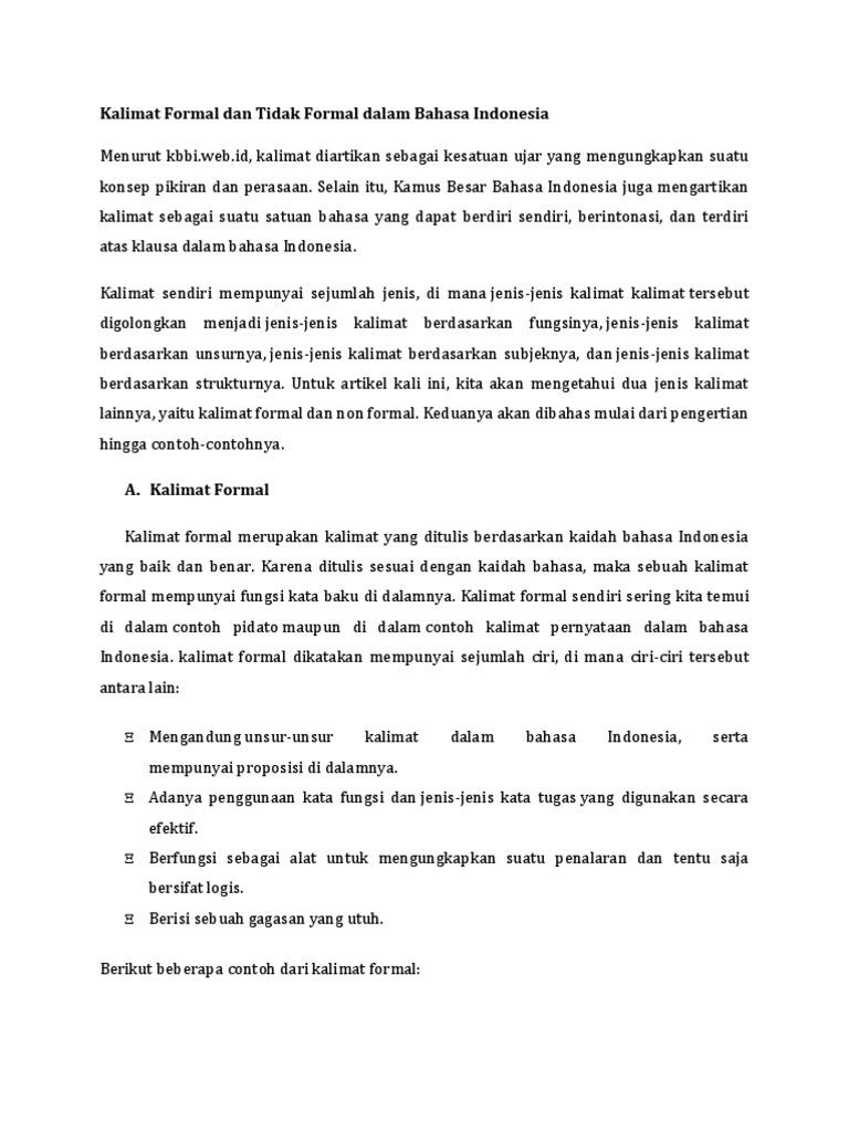 Contoh Kalimat Bahasa Indonesia Yang Baik Dan Benar   Bagi Hal Baik