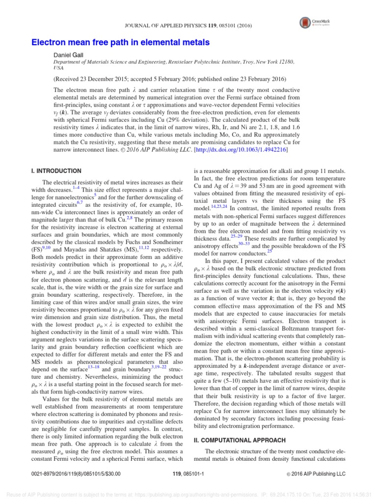 Electron mean free path in elemental metals: JOURNAL OF