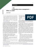 Leadership vs. Management - Scott 2008