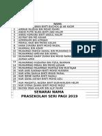 Senarai Nama Prasekolah Seri Pagi 2019