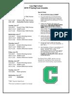 2018-19 exam schedule- spring