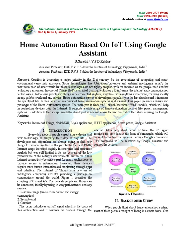 Home Automation Based on IoT Using Google Assistant