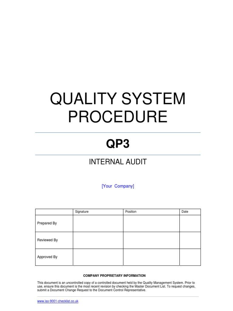 Internal Audit Procedure Example | Internal Audit | Audit