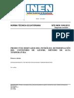 Determinación de contenido de azufre en derivados de petróleo