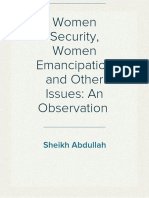 Women Security, Women Emancipation and Other Issues