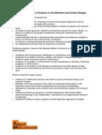 Evaluation Criteria the Berlage Master of Science in Architecture and Urban Design 2019-2021