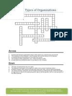 Crossword Types of Organisation