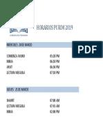 Horarios Purim 2019