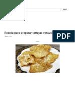 Receta Para Preparar Torrejas Venezolanas - ConstruArte, C.a.