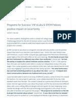 programs for success  vw elabs   stem fellows positive impact on local family