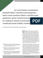 Evaluation of Corrosion-resistant Basalt-fiber-reinforced Polymer Bars