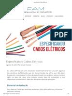 Especificando Cabos Elétricos