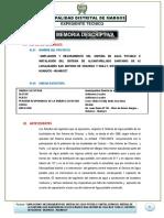 MEMORIA DESCRIPTIVA PROYECTO DE SANEAMIENTO