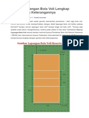 Ukuran Lapangan Bola Voli Lengkap Gambar Dan Keterangannya Docx