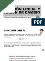 FUNCIÓN LINEAL Y RAZÓN DE CAMBIO