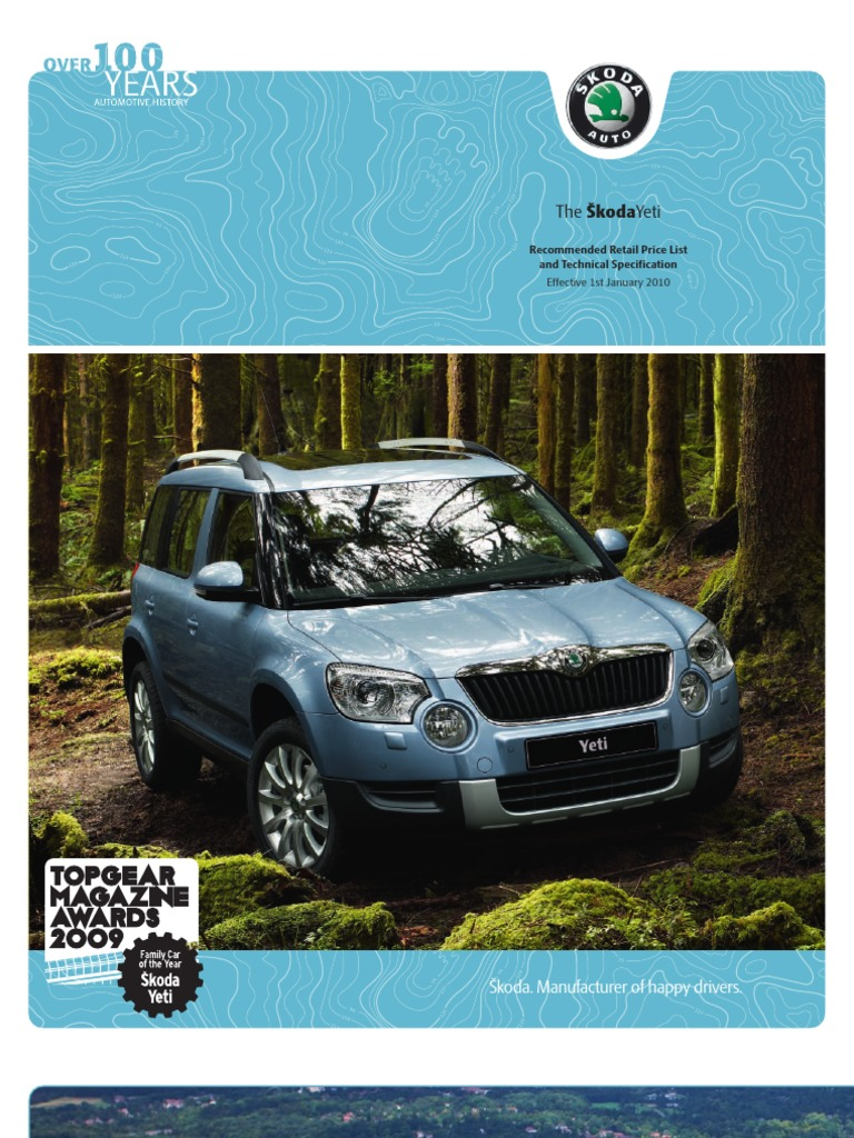 Skoda Yeti Brochure   Airbag   Wheeled Vehicles
