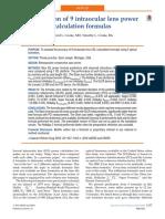 Comparison of 9 Intraocular Lens Power Calculation Formulas