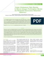 Hubungan Kadar Kholesterol High Density Lipoprotein Serum Dengan Framingham Stroke Risk Score