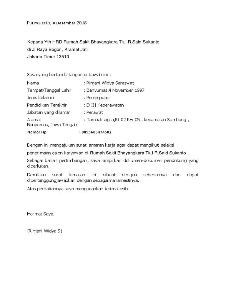 Surat Lamaran Rs Bhayangkara Docx