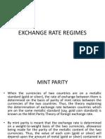 Exchane Rate Regimes