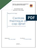 Rapport de Stage  principe de fonctionnement d'une centrale thermique à vapeur cap djinet