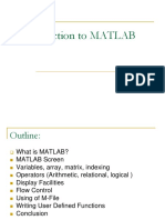 Intoduction to MATLAB
