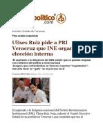 27.03.19 Ulises Ruiz pide a PRI Veracruz que INE organice su elección interna