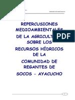 Repercusiones Medioambientales de La Agricultura Sobre Los Recursos Hidricos