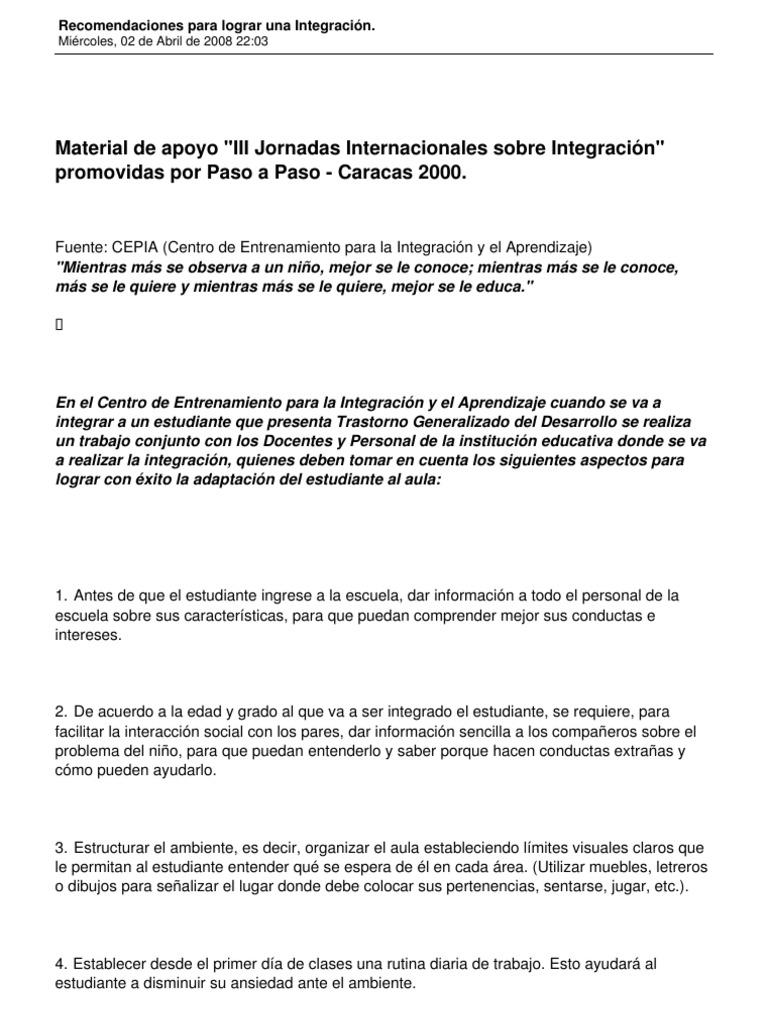 15 Recomendaciones para Lograr Una Integracion en EL AULA   PDF ...