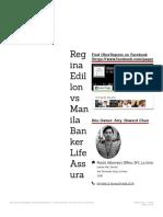 Regina Edillon vs Manila Banker Life Assurance Corporation   Uber Digests