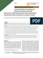 Aplicación de La Técnica de Tanda Alimentada Simple a La Producción Secretora de Alto Nivel Del Precursor de Insulina Usando Pichia Pastoris Con Posterior Purificación y Conversión a Insulina Humana (1)