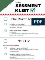 CV Resume Assessment Checklist EXAMPLE