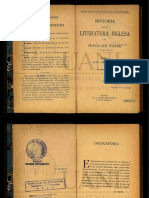 Hipólito Taine. Historia de la literatura inglesa