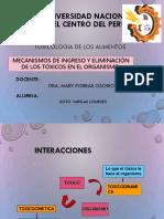 Mecanismos de Ingreso y Eliminacion de Los Toxicos en El Organismo Pptx