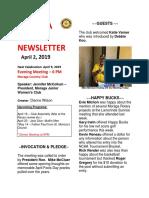 Moraga Rotary Newsletter April 2 2019